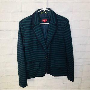 Merona Blazer Striped Blue Green 14